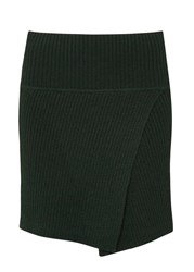Etoile Isabel Marant Estelle Green Ribbed Wool Mini Skirt Dark Green