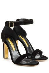 Rupert Sanderson Myril Velvet Sandals Black