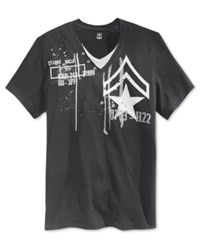 Inc International Concepts Men's Layered V Neck Graphic Print T Shirt Only At Macy's Deep Black