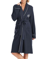 Lauren Ralph Lauren Plus The Hartford Robe With Quilted Collar And Cuffs Navy