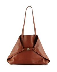 Akris Ai Pebbled Leather Shoulder Tote Bag Carmel