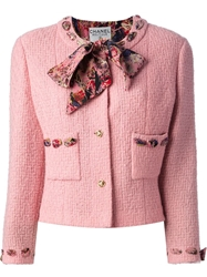 Chanel Vintage Boucle Jacket And Skirt Suit Pink And Purple