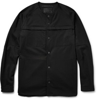 White Mountaineering Collarless Cotton Blend Ponte Shirt Jacket Black