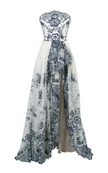 Lena Hoschek Lace Bustier Couture Gown White Blue