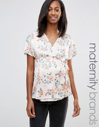 New Look Maternity Floral Side Tie Wrap Top Pink Pattern Grey