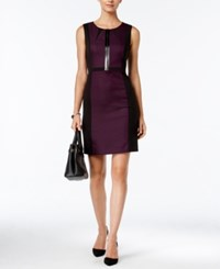 Tahari By Arthur S. Levine Asl Faux Leather Trim Colorblocked Sheath Dress Purple