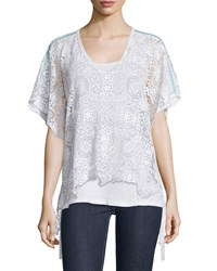 Short Sleeve Crochet Cotton Poncho White Women's Johnny Was Collection