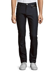 Versace Slim Fit Leather Detail Pants Blue