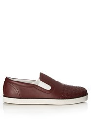 Bottega Veneta Intrecciato Slip On Leather Trainers Burgundy