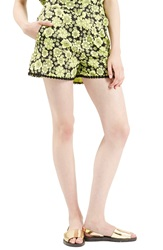 Topshop Archive Collection ''60S Floral Psyche' High Rise Shorts Green