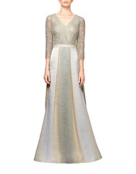 Kay Unger Sequined Metallic Gown Platinum