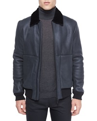 Theory Shearling Fur Collar Leather Aviator Jacket Black
