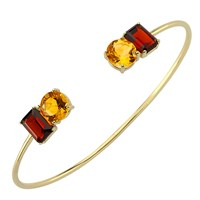 Intua Jewellery Citrine And Garnet Open Bangle Gold Red Gold Yellow