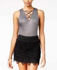 Material Girl Juniors' Metallic Rib Knit Lattice Bodysuit Only At Macy's Silver Combo