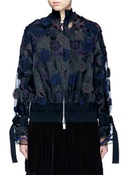 Sacai Embroidered Patch Applique Organza Jacket Multi Colour