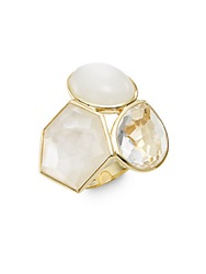 Ippolita Rock Candy Clear Quartz Mother Of Pearl Moonstone And 18K Yellow Gold Doublet Cluster Ring Gold White