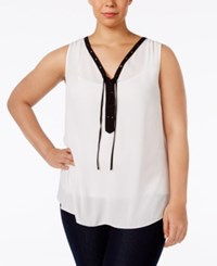 Inc International Concepts Plus Size Embellished Lace Up Shell Only At Macy's Washed White