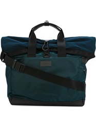 Paul Smith Fold Over Top Multi Pockets Tote Bag Blue