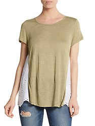 Kensie Jersey And Cotton Eyelet Tee Fog
