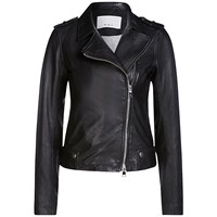 Oui Leather Biker Jacket Black