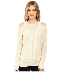 Brigitte Bailey French Cut Cable Knit Sweater Ivory Women's Sweater White