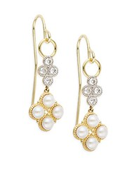 Jude Frances 3Mm Round Freshwater Pearl Diamond And 18K Yellow Gold Flower Drop Earrings
