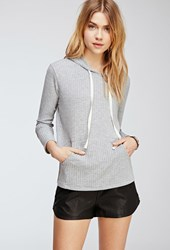 Forever 21 Ribbed Knit Hoodie Heather Grey