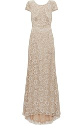 Badgley Mischka Layered Embroidered Lace And Sequined Tulle Gown