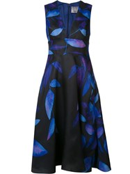 Lela Rose Deep V Neck Flared Dress Blue