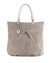 Charles Jourdan Felicia Swirl Stamped Leather Tote Grey