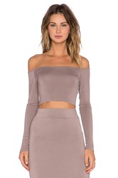 Blq Basiq Off The Shoulder Crop Top Taupe