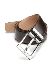 Salvatore Ferragamo New Real Adjustable Leather Belt Dark Brown