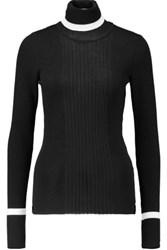 Emilio Pucci Turtleneck Ribbed Wool Sweater Black