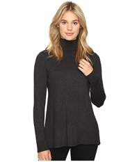 Kensie Drapey Sweater With Pleated Back Ksnk5512 Heather Charcoal Combo Women's Sweater Black