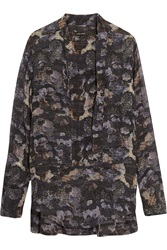 Isabel Marant Printed Silk Georgette Blouse Gray