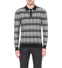 Reiss Riley Checked Knitted Polo Jumper Navy