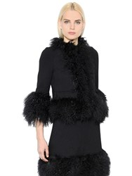 Sonia Rykiel Mongolian Fur And Wool Crepe Coat