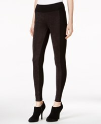 Kensie Faux Suede Colorblocked Leggings Black