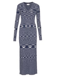 See By Chloe V Neck Ribbed Cotton Knit Dress Blue White