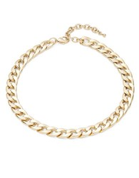 Design Lab Lord And Taylor Hammered Curb Chainlink Necklace Gold