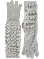 Moncler Long Knitted Gloves Grey