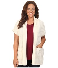B Collection By Bobeau Curvy Plus Size Larken Ribbed Knit Cardigan Natural Women's Sweater Beige