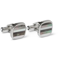 Montblanc Mother Of Pearl T Bar Cufflinks Silver