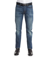 Tom Ford Straight Fit High Low Selvedge Denim Jeans Indigo