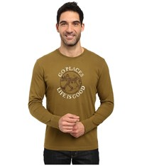 Life Is Good Lig Go Places Crusher Long Sleeve Woodland Green Men's Long Sleeve Pullover