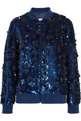 Ashish Sequined Silk Georgette Bomber Jacket Midnight Blue