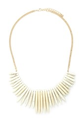 Forever 21 Faux Stone Statement Necklace Ivory Gold