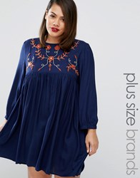 Alice And You Folk Embroidered Skater Dress Navy