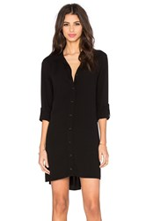 Splendid Button Down Shirt Dress Black