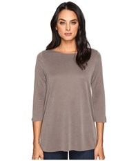 Three Dots 3 4 Sleeve High Low British Tee Walnut Women's Clothing Brown